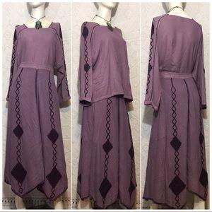 Purple Boho Hippie Maxi Skirt & Top Set